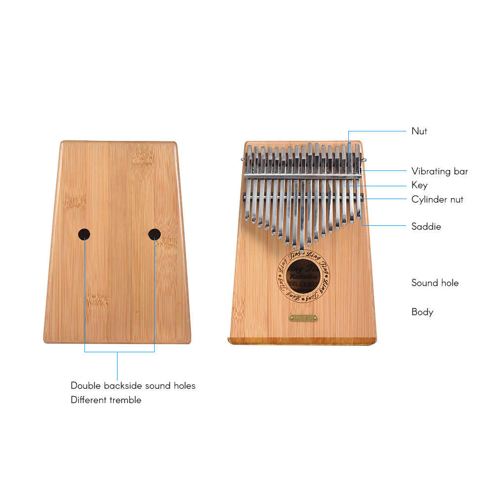 17-клавишным бамбук калимба «пианино для больших пальцев» Mbira санза с сумкой для переноски нотная тетрадь наклейки молоточек для настройки музыкальный подарок