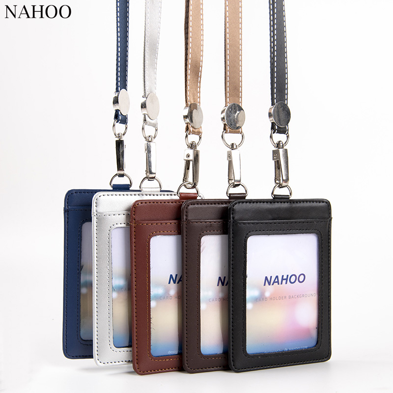 NAHOO Lanyards Id Badge Holder Name Tag Plastic Badge Real Leather Card Holder Vertical Credit Bus Cards Case Office Supplies 10pcs lot retractable pull badge reel zinc alloy abs plastic id lanyard name tag card badge holder reels