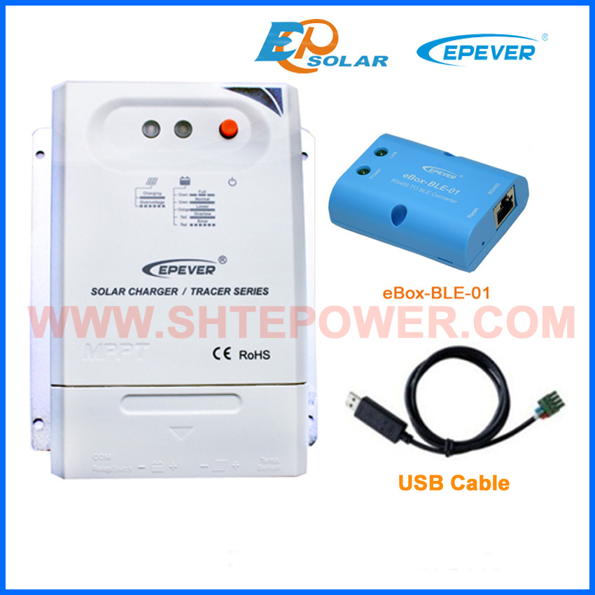 Controller 20A Tracer2210CN bluetooth eBOX-BLE-01 Phone APP EPEVER Solar 12V regulator battery charger USB cable PC connection Controller 20A Tracer2210CN bluetooth eBOX-BLE-01 Phone APP EPEVER Solar 12V regulator battery charger USB cable PC connection