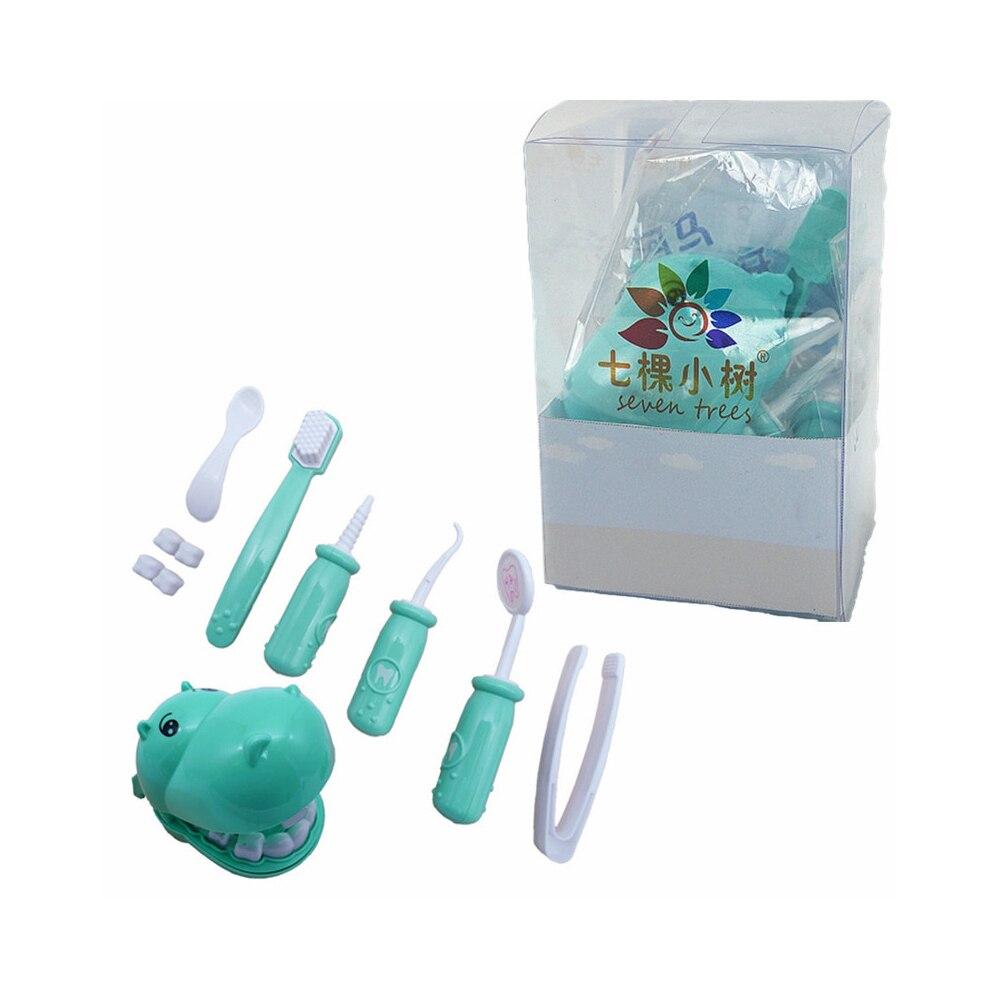 Играть игрушки Doctor'S Toy Set игрушечные гиппопотамы пластик 9 шт./компл. практика DIY Multi-function забавная игрушка в подарок коробка зубы Игры развивающие - Цвет: blue