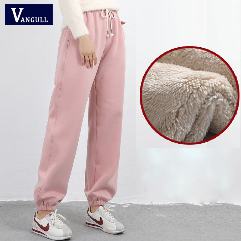 Vangull Thick Elastic Pants Solid Elastic Waist Velvet Women Harem Pants 2019 Winter New Lacing Casual Street Wear Warm Pants