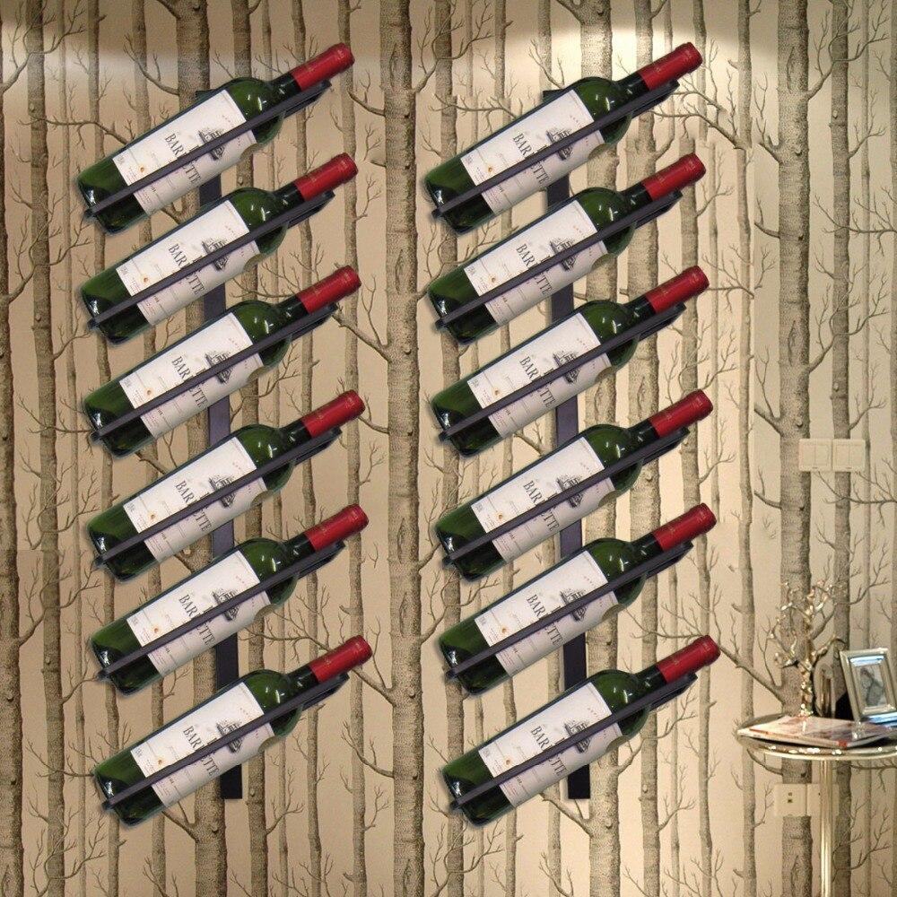 Support A Bouteille De Vin Mural €39.04 9% de réduction|haute qualité fer mural support de bouteille de vin  style européen casier à vin bouteille de vin présentoir organisateur|wall