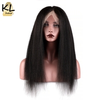 KL Hair Full Lace Human Hair Wigs Kinky Straight Natural Color Brazilian Remy Hair Lace Wigs