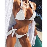Halter Bikini 2017 Sexy Swimwear Women Swimsuit Cut Out Brazilian Bikini Set Bandage Beach Wear Swimwear