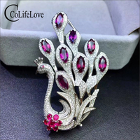 Elegant peacock brooch for evening party 4 mm * 8 mm real natural garnet silver brooch solid 925 silver brooch with gemstone