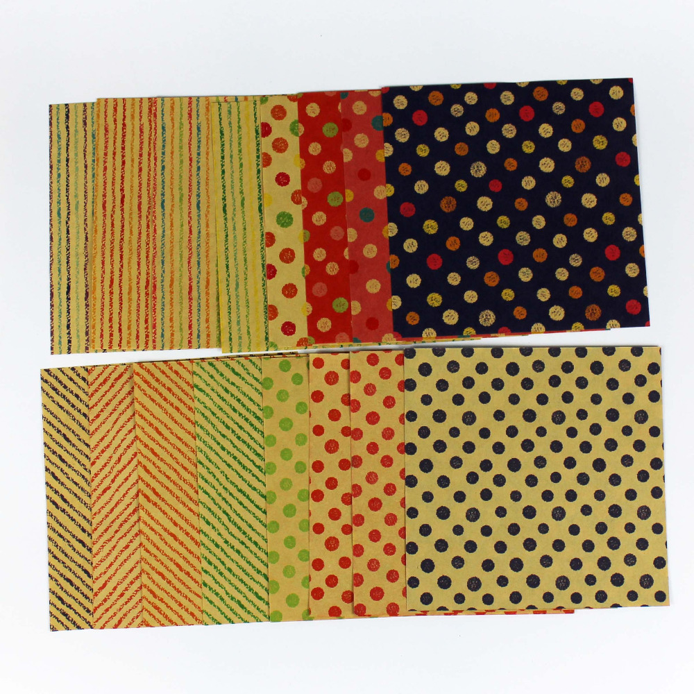 Double sided craft paper - Double Side Print Diy Origami Kraft Paper For Party Decoration Handicraft Stripe Colorful Dot Paper Craft