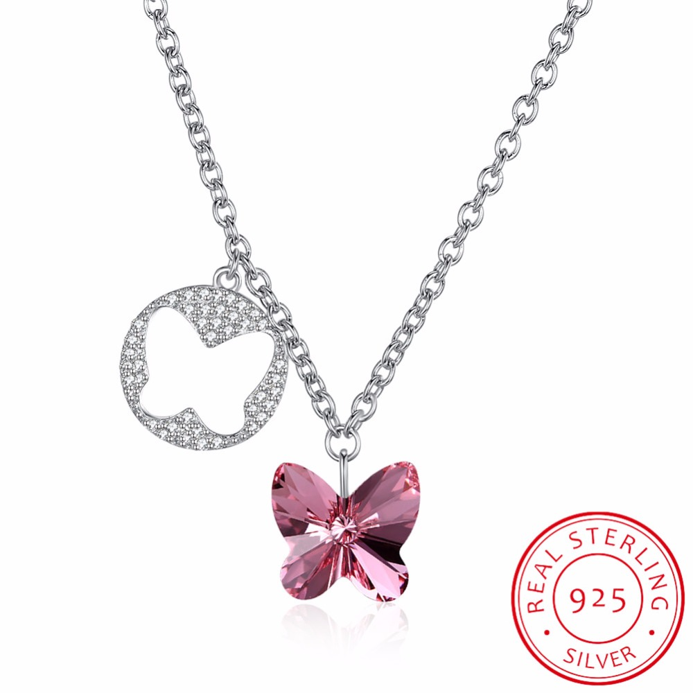 Cute Butterfly Necklace Pendant Blue/Pink Crystals From Swarovski Real 925 Sterling Silver Chain Necklace Choker For Women GirlCute Butterfly Necklace Pendant Blue/Pink Crystals From Swarovski Real 925 Sterling Silver Chain Necklace Choker For Women Girl