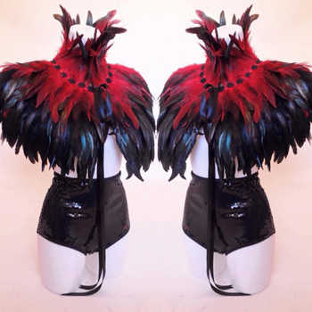 Red and Black Burlesque Feather Shawl Scarf Cape Gothic Dresses Costume Halloween Fashion Costume 2018