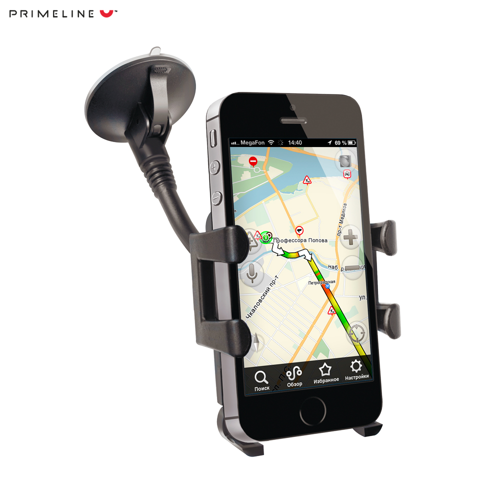Car mount holder for smart phones 3.5 -6, PU suction cup, flexible rod, Prime Line car universal tablet moblephone suction cup holder black