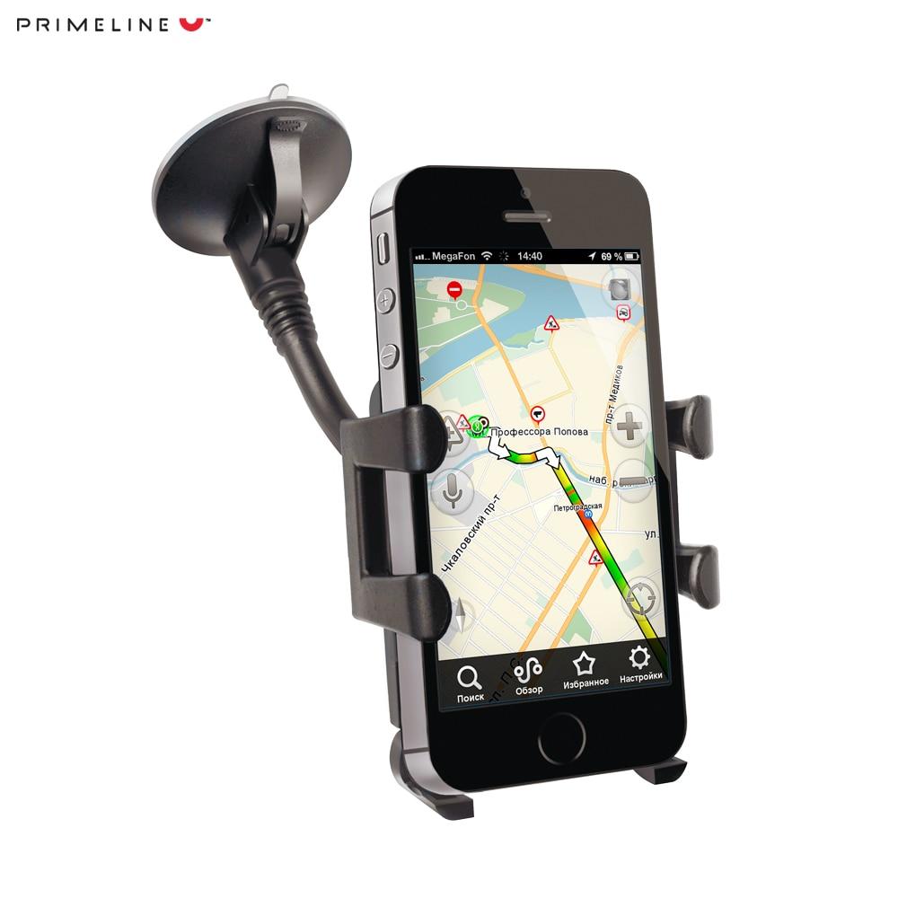 Car mount holder for smart phones 3.5 -6, PU suction cup, flexible rod, Prime Line gps mount stand holder for tomtom v4 black