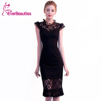 Mermaid Lace Cocktail Dresses 2019 Robe De Cocktail Knee Length Black Prom Party Dresses Homecoming Dresses