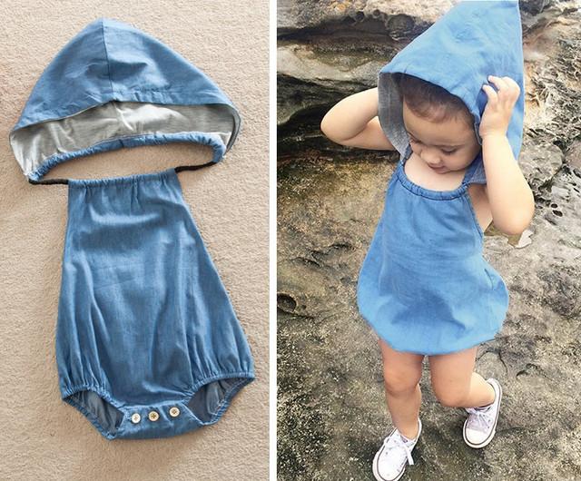 Infantil Baby Girl Boy Jean Com Capuz Bodysuit Playsuit Roupas bebe ropa de Bebe Bodysuits Macacão Roupas Recém-Nascido Do Bebê-roupas