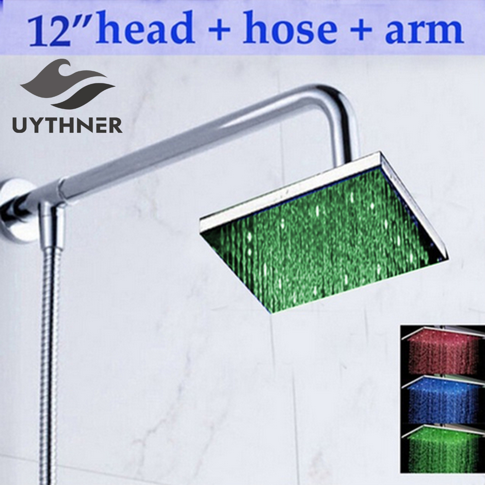 12 LED Square Rain Shower Head Wall Mounted Shower Arm W/ Shower Hose Top Over Shower Sprayer luxury led color changing golden brass rain round shower head wall mounted over head sprayer