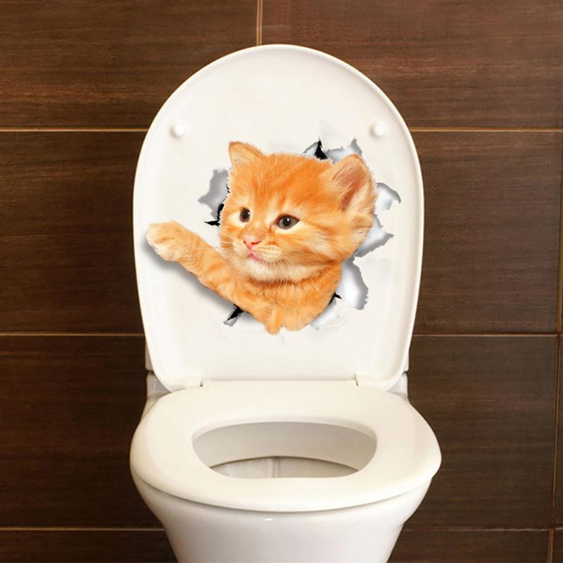 Cat Dog Toilet Seat 3d Sticker Bathroom Wallpaper Decal Removable Pvc Wall Stickers For Home Decoration