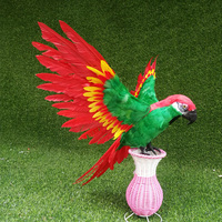 new parrot hard model plastic&feather wings green&red parrot bird toy about 65x50cm s2928