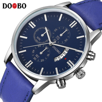 DOOBO Men S Watch Men Date Clock Men Casual Quartz Watch Leather Wrist Sports Watches Military