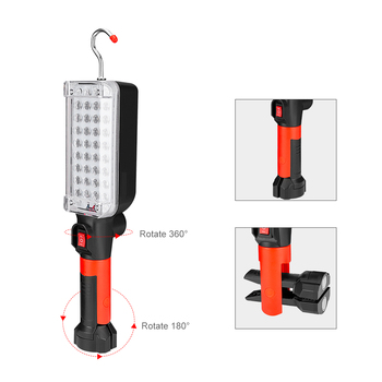 34 SMD Working Light 2 Mode Magnetic Flashlight Torch with Strong Hook Tent Camping Lamp Car Repair Work Light by 18650 Battery 3