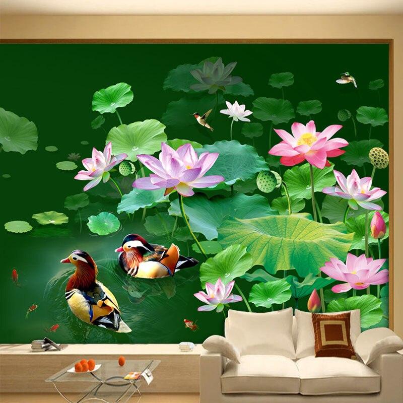 Online get cheap mandarin duck photos for Duck pond mural