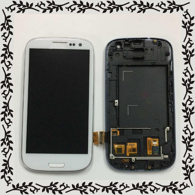 الأبيض لسامسونج غالاكسي S3 Neo i9301 i9300i i9308i i9301i S3 III i9300 شاشة الكريستال السائل لوحة شاشة تعمل باللمس الزجاج الجمعية الإطار