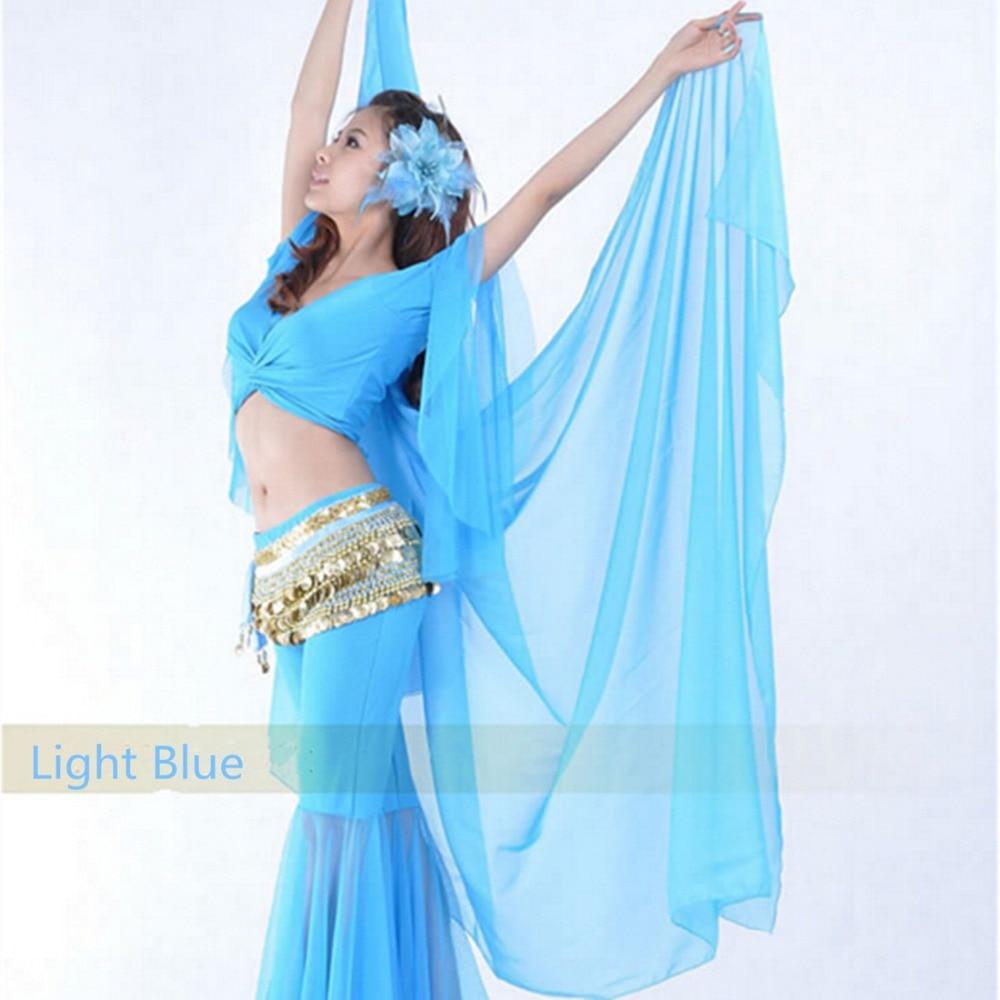 Belly Dance Chiffon Shawl Scarf Sequins Trim Indian Dancing Veil Hip Wrap