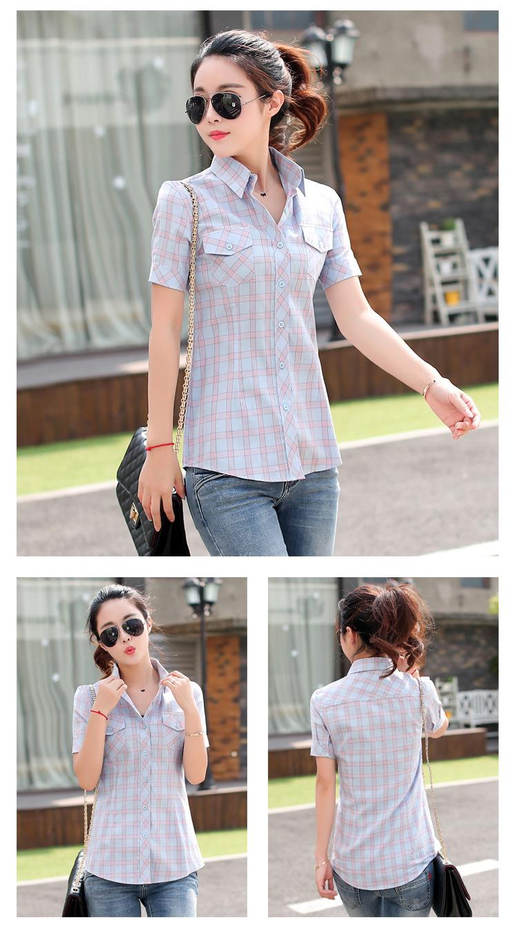 HTB1H26FJFXXXXaiaXXXq6xXFXXXt - New 2017 Summer Style Plaid Print Short Sleeve Shirts Women