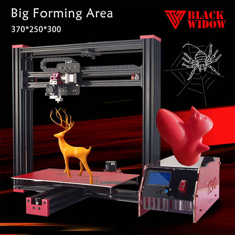 2017 Newest Tevo Black Widow 3d printer kit impresora 3d Large Printing Size  Imprimante 3D OpenBuild Aluminium Extrusion-GIFT large buid size newest kossel k280 delta 3d printer 24v 400w power with auto level and heat bed two rolls of filament gift