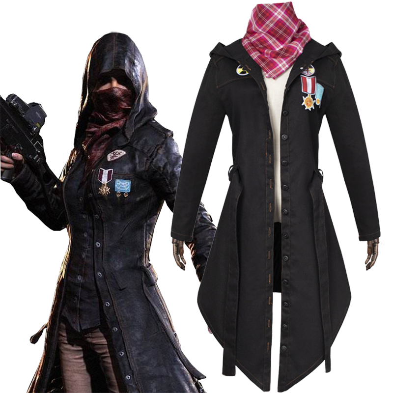 Fashion For Game PUBG Winner Cosplay Trench Coat Black Print Button hooded Jacket Cloak New Costumes