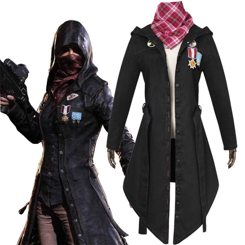 Fashion For Game Pubg Winner Cosplay Trench Coat Black Print