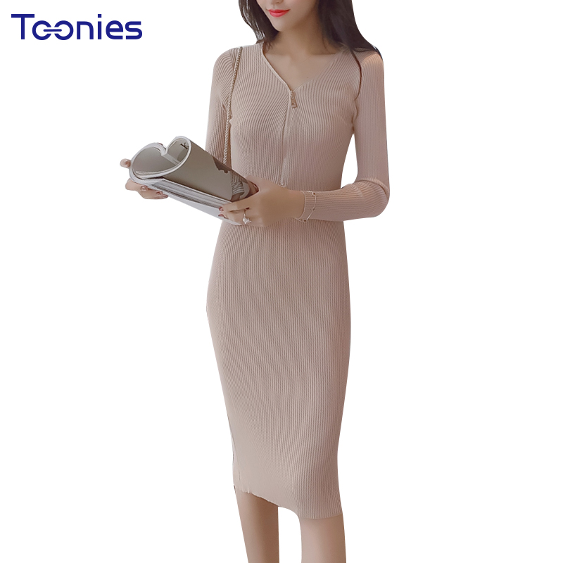 Long Sleeved Bodycon Dresses Solid Knit Dress Zipper V-neck Slim Sheath Elastic Knitted Dresses Party Spring Vestidos 3 Colors solid color zipper lace bodycon dress