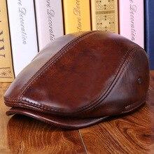 BUTTERMERE de cuero Real de los hombres de tapa plana marrón hombre boina  sombrero flexfit sombrero para hombre de cuero genuino. 2265602ffb6