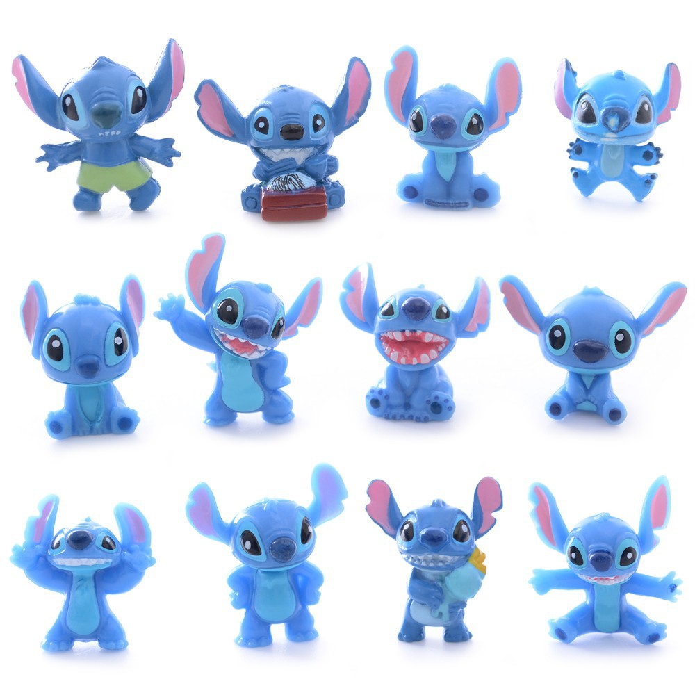 12pcs Cute Blue Lilo Stitch Resin Cartoon Figure Anime Girls