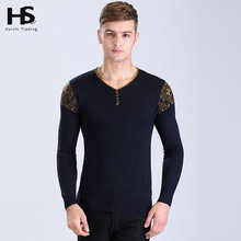 High Quality Button V-Neck Pullover Men Clothing Brand OEM Wool Cashmere Sweater Men Long Sleeve Shirt Pull Homme Plus Size 6610
