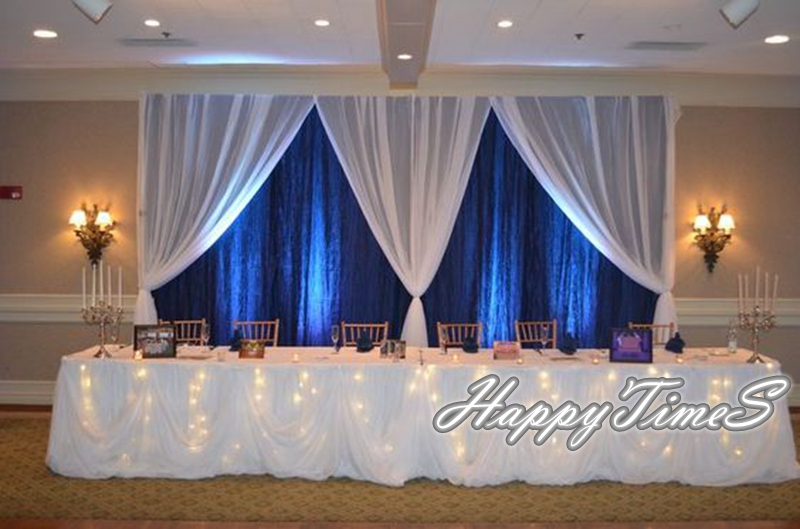 10ft High 20ft Wide Royal Blue Backdrop Curtain With White