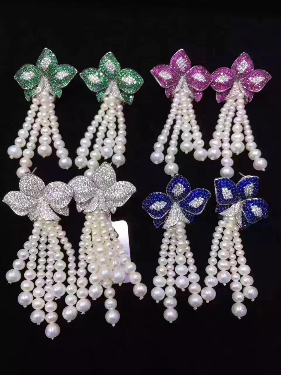 long tassels earring natural fresh water pearl drop earring 925 sterling silver with cubic zircon flower free shipping