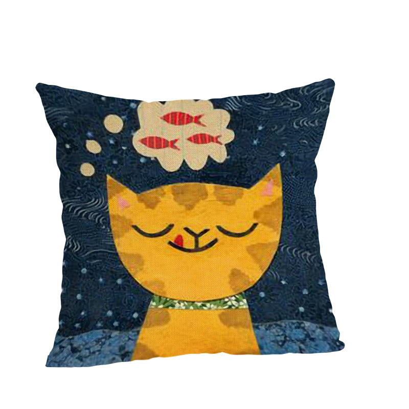 Cute Cat Cushion Case Decorative Cushion Cover 45x45CM Cotton Linen Square Throw Pillow Cover Decorative Pillow Case in Cushion Cover from Home Garden
