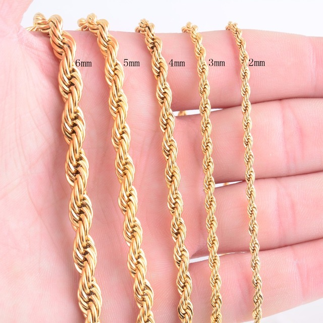 High Quality Gold Plating Rope Chain Stainless Steel Necklace For Women Men Gold Fashion Rope Chain Jewelry Gift 2