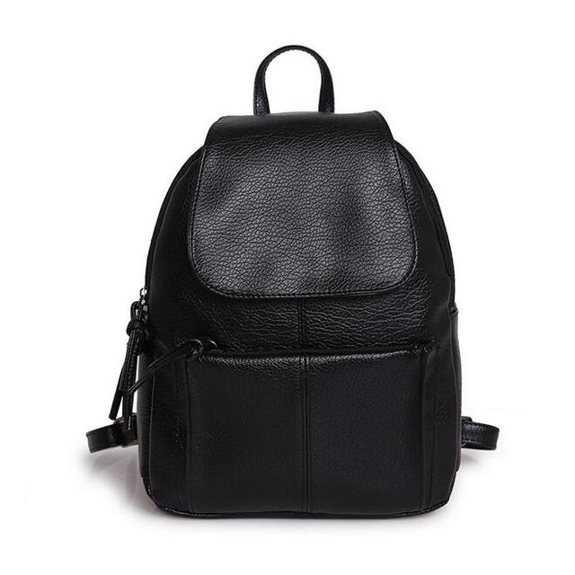 Fashion Women Backpack 2017 PU Leather College wind Black washed leather  School bag Girl High Quality Travel Books Rucksack aa51a47bf3