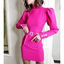 Button sleeve mini women dress with belt Long sleeve slim fit bodycon party dress Elegant office work wear Solid vestidos mujer