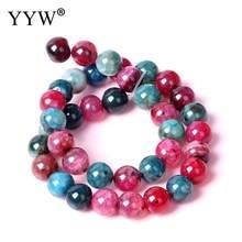 68884857cbfb Natural turmalina Cuentas redonda color mezclado joyería del encanto Cuentas  para las mujeres pulsera del collar que hace
