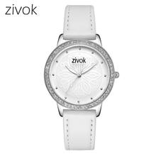 Zivok Moda Kadınlar Saatler Üst Marka Bayanlar Severler Bilek İzle Saat Kadınlar Beyaz Deri Saatler Saat çiçek Relogio Feminino