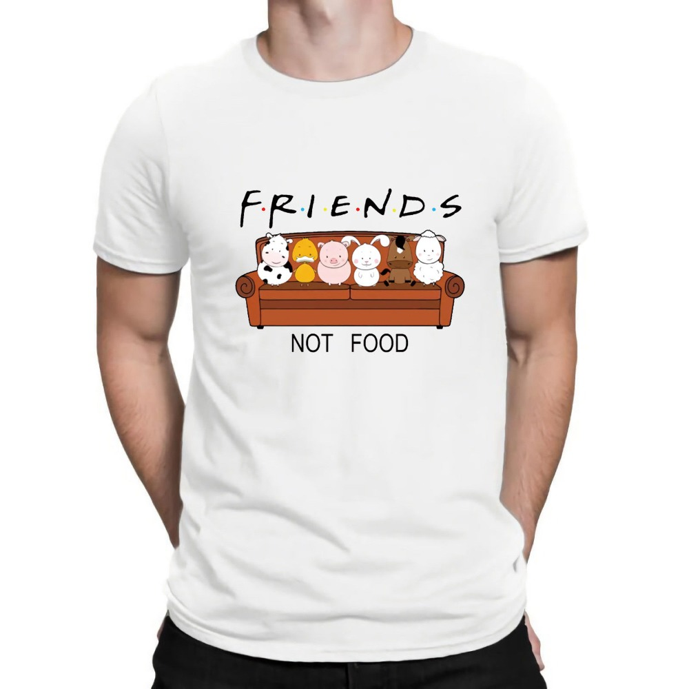 Image 2 - New Animal Friends Not Food Funny Parody T Shirt Vegan Vegetarian No Meat Men Fashion Short Sleeve O Neck Cotton Print T Shirt-in T-Shirts from Men's Clothing