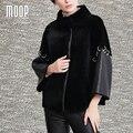 Cuero genuino negro empalmados abrigos de invierno para las mujeres de piel de oveja esquilada de piel de oveja ovejas corto cazadora jaqueta de couro LT1076