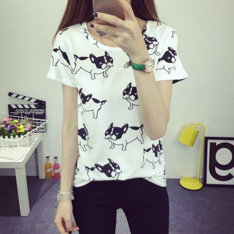 Orderly Summer Fashion T-shirts Women Cute Dog Printed Tee Shirt Femininas T Shirt Tops S72 Relieving Rheumatism