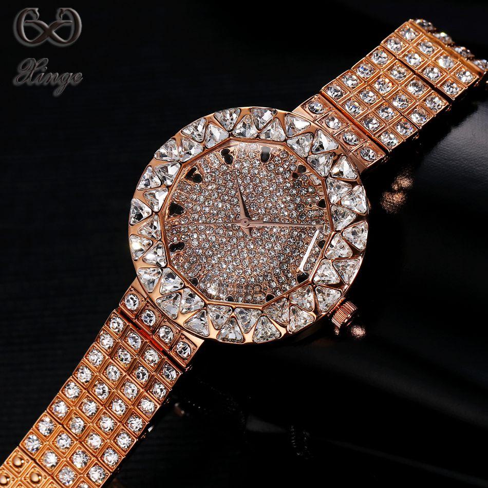 Xinge Brand 2017 New Product Crystal Zircon Bracelet Women's Watches Brand Luxury Fashion Ladies Gold Watch Women Quartz-watch xinge brand 2017 new arrival fashion