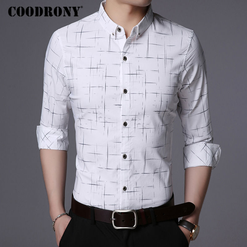 49e08ea402c COODRONY Men Shirt Mens Business Casual Shirts Men Brand Clothes 2018 New  Arrival Cotton Plaid Long Sleeve Camisa Masculina 8725-in Casual Shirts  from Men s ...