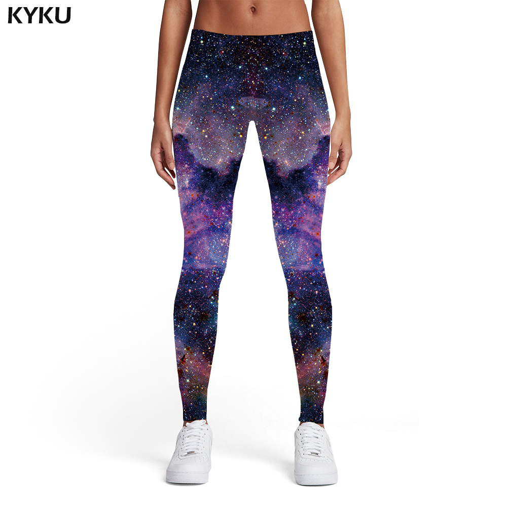 KYKU Galaxy Leggings Women Space Ladies Nebula Spandex Colorful Elastic Gothic Sexy Womens Leggings Pants Casual Slim Skinny