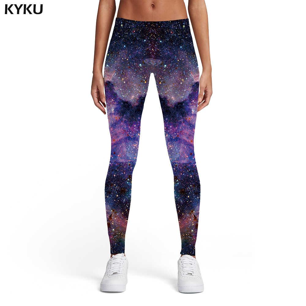 KYKU Galaxy Tayt Kadınlar Uzay Bayanlar Bulutsusu Spandex Renkli Elastik Gotik Seksi Bayan Tayt Pantolon Rahat Ince Sıska