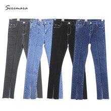 Узкие джинсы высокая талия женщины тянутся прямо Узкие Джинсы Брюки весна лето 2017 мода высокое качество синий серый черный цвет