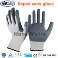 Nmsafety preço mais barato luvas de trabalho luvas de borracha nitrílica para indústria de reparação de luz cinza