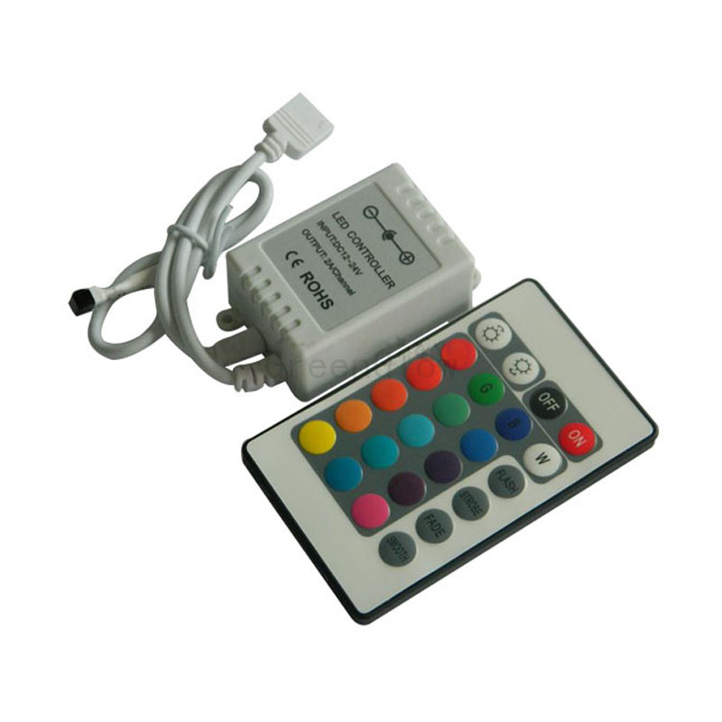 100X Wholesale high quality 24key IR remote RGB LED controller 3 year warranty express free shipping